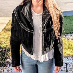 Wilson's Black Leather Fringed Cropped Jacket
